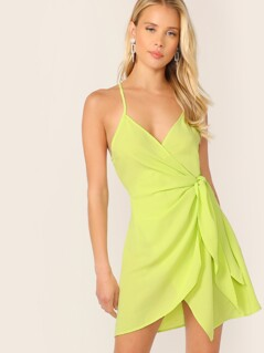 Neon Green Wrap Knotted Slip Dress