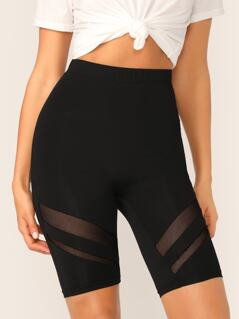Mesh Insert Solid Cycling Shorts
