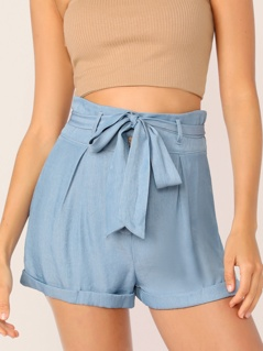 Solid High Waist Cuffed Belted Shorts