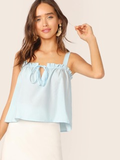Solid Frill Trim Tie Front Top