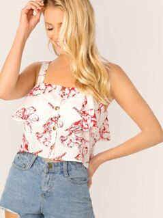Floral Print Button Front Double Layer Top