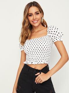 Polka-dot Print Puff Sleeve Shirred Crop Top