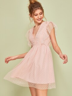 Plunging Neck Ruffle Armhole Dobby Mesh Overlay Dress