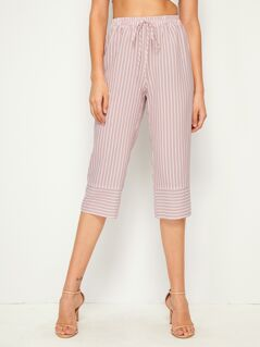 Drawstring Waist Striped Capris Pants
