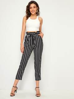 Paperbag Waist Tie Front Striped Tapered Pants