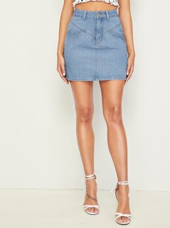 Faded Wash Pocket Patched Bodycon Denim Skirt