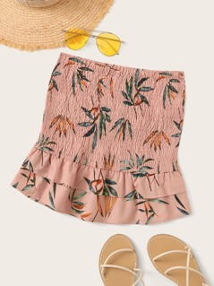 Plants Print Shirred Ruffle Hem Skirt