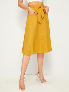 Button Front Self Belted Pocket Patched Skirt