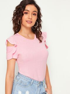Open Shoulder Ruffle Trim Solid Tee