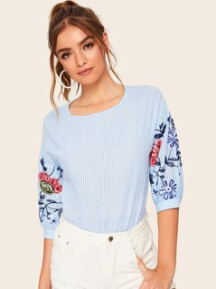 Drop Shoulder Embroidery Sleeve Striped Top