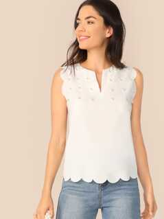 Scalloped Trim Pearl Embellished Top