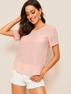 Patch Pocket Dip Hem Solid Top