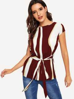 Keyhole Back Tie Front Wave Striped Top