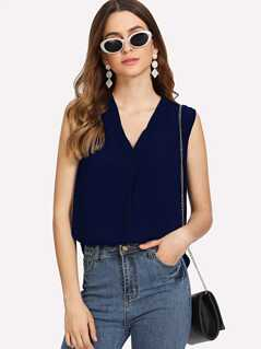 Solid V Neck Sleeveless Top