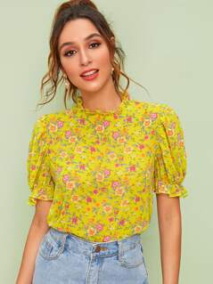 Ditsy Floral Print Keyhole Back Frill Trim Top