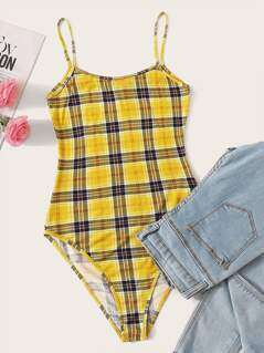 Plaid Fitted Cami Bodysuit