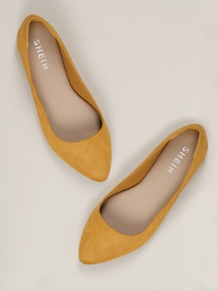 Wide Fit Faux Suede Pointed Toe Flats