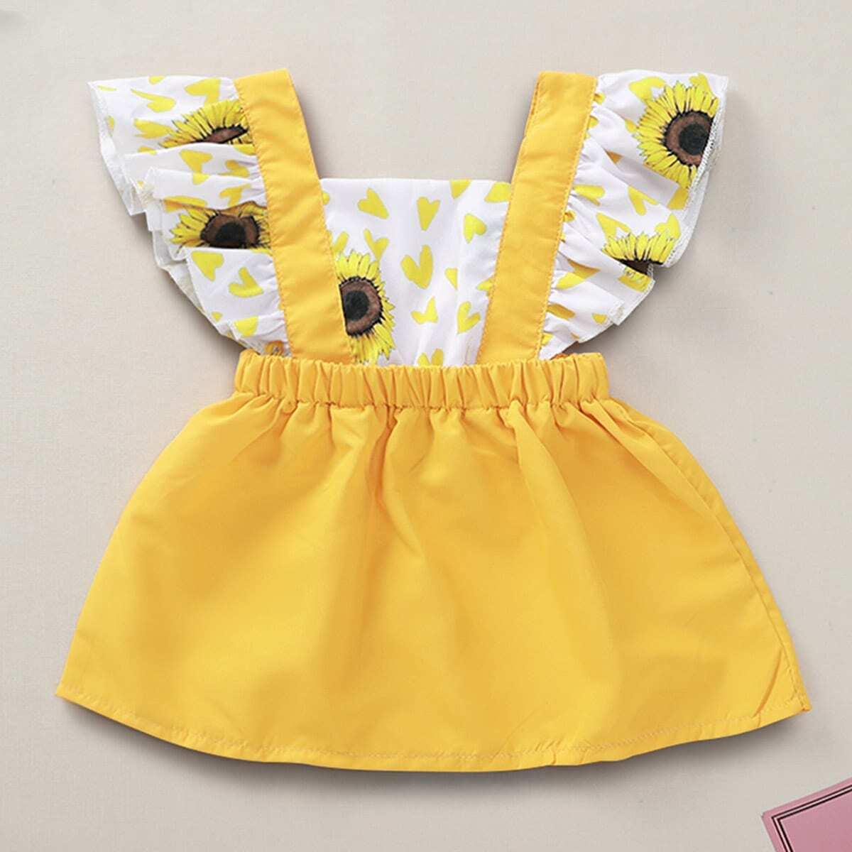 Платье с оборкой и графическим принтом для детей от SHEIN