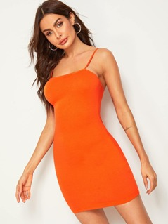 Neon Orange Solid Bodycon Cami Dress