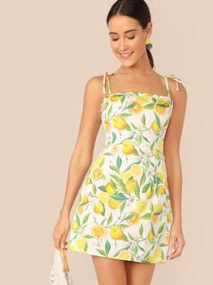 Zip Side Knot Shoulder Fruit Print Slip Dress