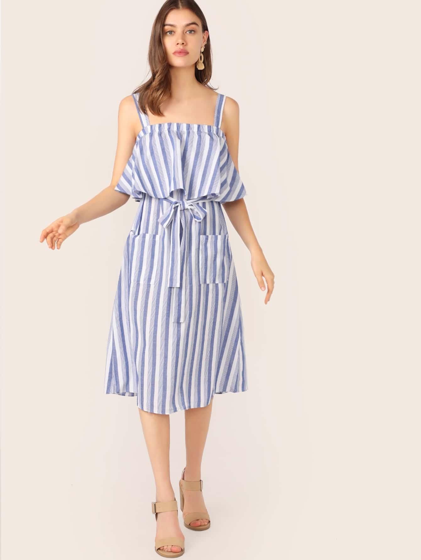 Фото - Полосатое платье с поясом и карманом от SheIn цвет синие