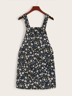 Pocket Patched Ditsy Floral Corduroy Dress