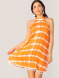 Neon Orange Tassel Hem Tie Dye Halterneck Dress