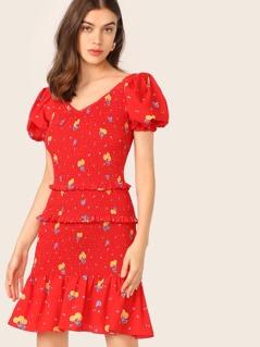 Layered Frill Trim Drop Waist Shirred Floral Dress
