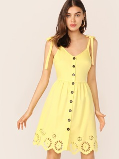 Button Front Laser Cut Scalloped Hem Dress