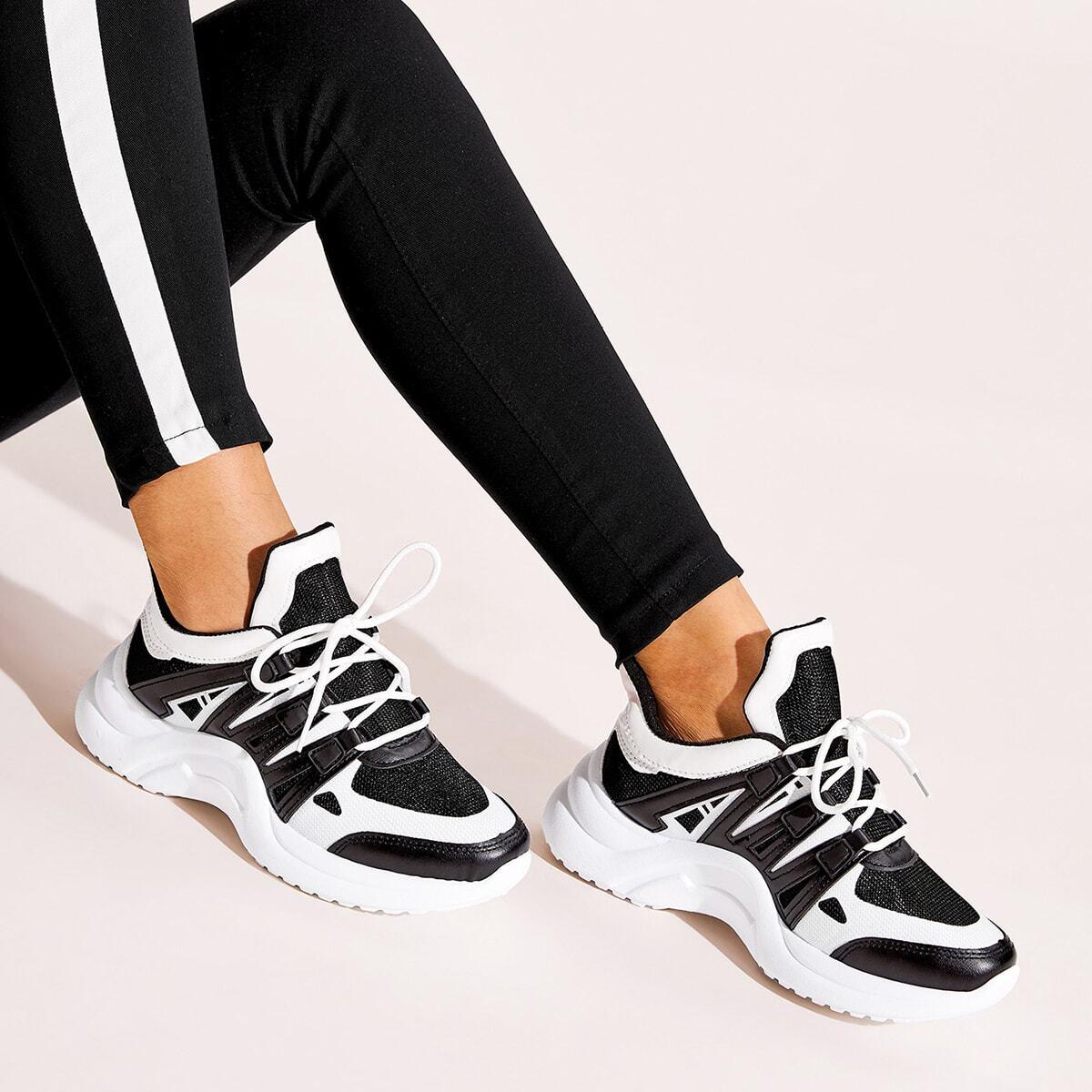Colorblock Vetgevormde dikke sneakers