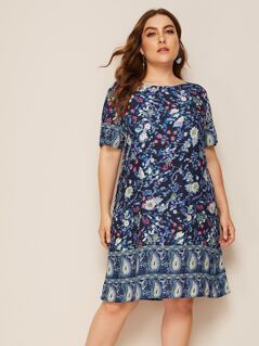 Plus Paisley and Floral Print Dress