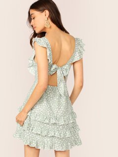 Tie Back Ruffle Trim Ditsy Floral Layered Dress