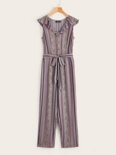 Lettuce Trim Buttoned Front Belted Tribal Print Jumpsuit