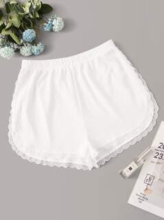 Lace Trim Ribbed Shorts