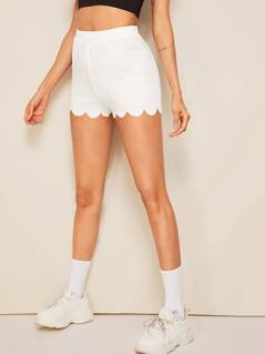 Solid Scalloped Hem Shorts