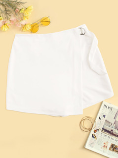 Plus D-ring Belted Wrap Front Shorts