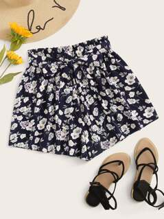 Ditsy Floral Print Paperbag Waist Shorts