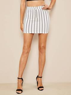 O-ring Half Zip Front Striped Skirt