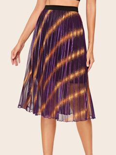 High Waist Metallic Glitter Pleated Skirt