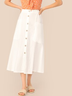 Button Front Patch Pocket Skirt