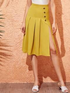 Button Front Split Thigh Godet Skirt