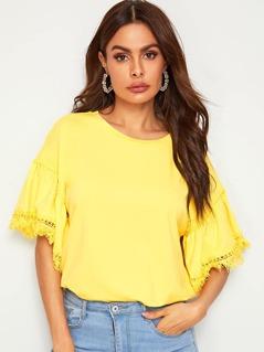 Neon Yellow Lace Insert Raw Trim Top