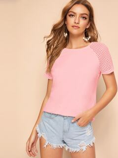 Lace Raglan Sleeve Solid Top