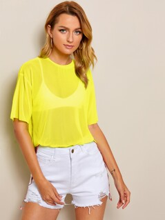 Neon Yellow Drop Shoulder Sheer Mesh Top Without Bra