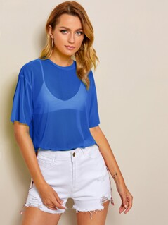 Drop Shoulder Sheer Mesh Top Without Bra