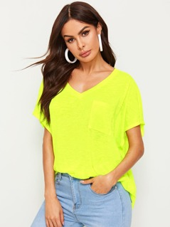 Neon Lime V-neck Patch Pocket Tee