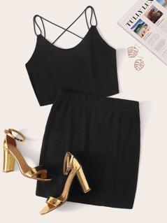 Crisscross Back Cami Crop Top & Skirt Set