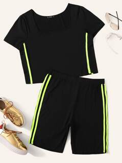 Plus Neon Lime Side Striped Top & Cycling Shorts Set