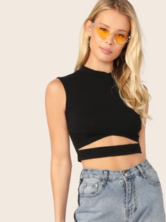 Mock-Neck Cut Out Front Crop Top
