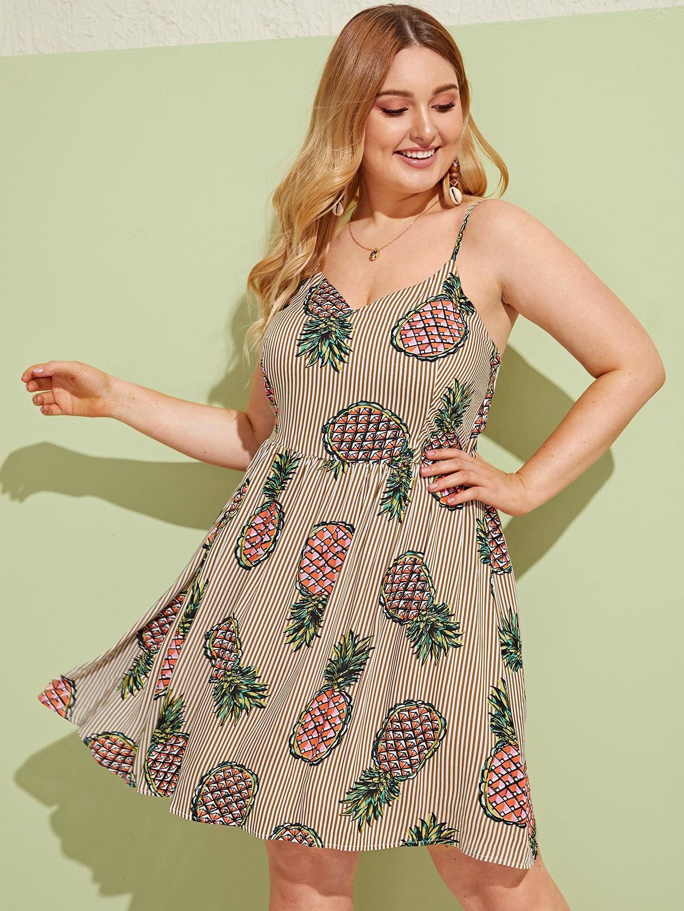 Фото - Пижама на бретелях с оборкой и цветочным принтом от SheIn цвет многоцветный